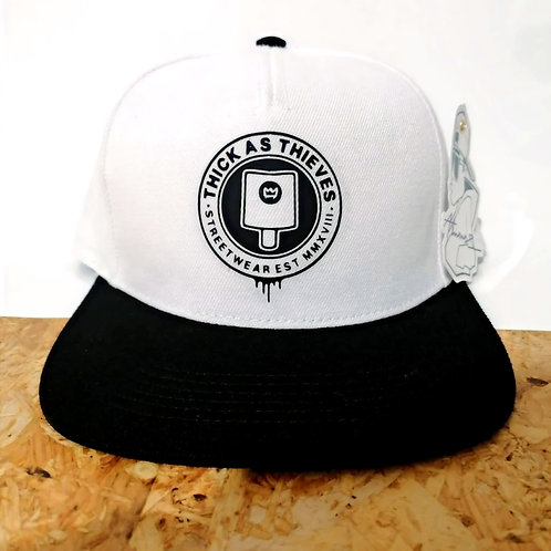Snapback - White / black peak / Black - Fat cap logo