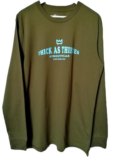 Mens Base layer long sleeve T-shirt / Army / Light blue -The Lane logo