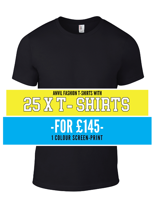 25 x T-Shirts with 1 colour screen print
