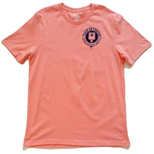 Unisex Casual T-shirt - Mauve / Blue Flock - Fat cap logo