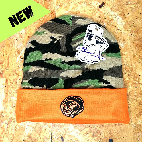 Orange and camo bandit beanie