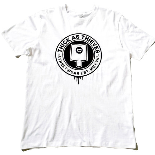 unisex organic casual T-shirt - White / Black - fat cap logo
