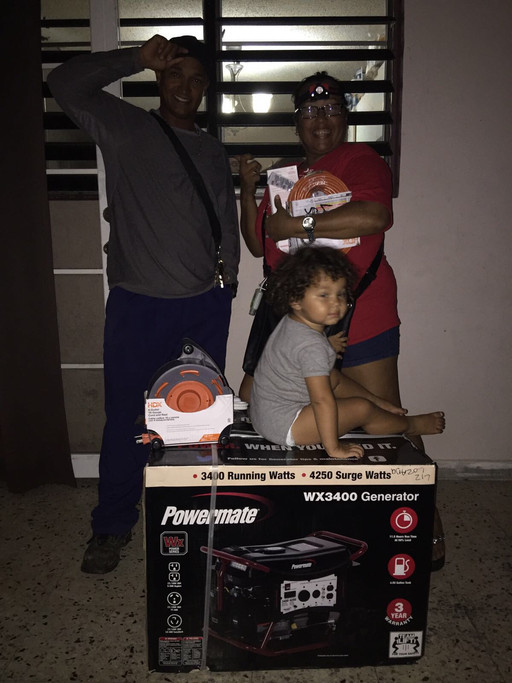 Liz and her husband were running thier car and extra car batteries to power varies household items. Now that they have a generator, her husband can now sleep without being worried someone will steal his running car.