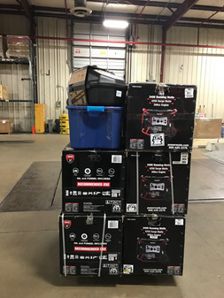 The first shipment of 11 generators, chainsaw, and powercords