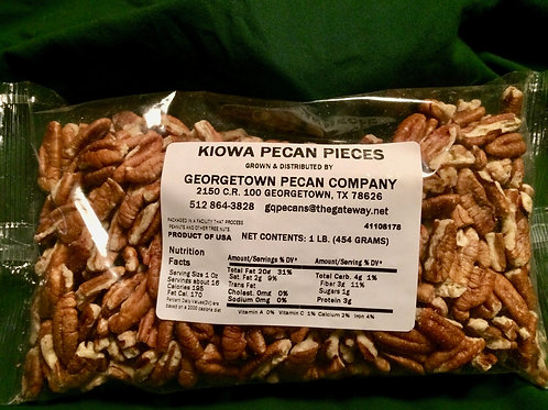 Kiowa pecan pieces - 1 lb Larger pecan with a sweet flavor and a nice crunch.