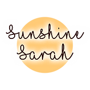 yellow circle with Sunshine Sarah written on it in black font