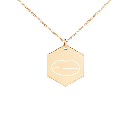 Engraved Lip Hexagon Necklace