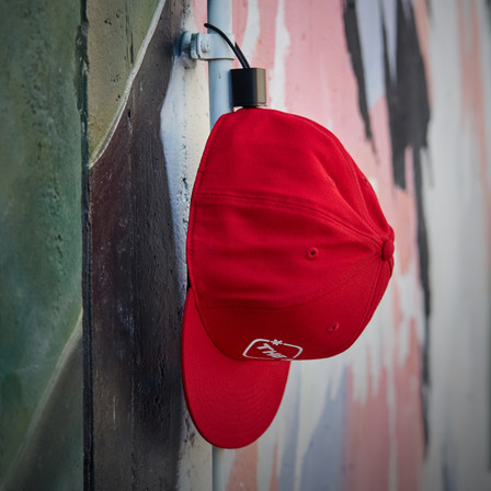 snapback on magnetic cap holder by the hat pal.