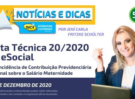 Nota Técnica 20/2020 do eSocial - Não incidência de Contribuição Previdenciária Patronal sobre o Sal