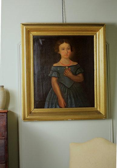 19th Century oil on canvas primitive portrait of a girl