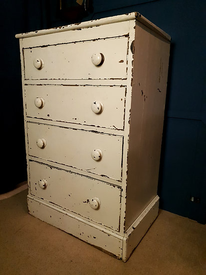 Antique white chippy paint drawers