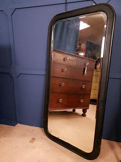 Antique large ebonised mirror