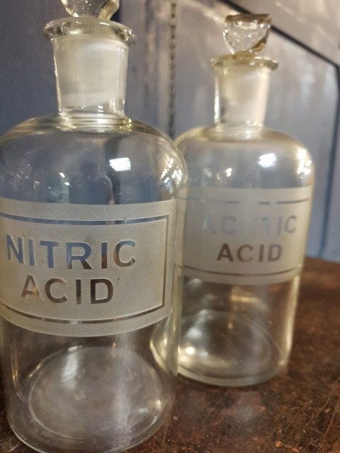 glass etched pair of mid 20th century Chemist bottles