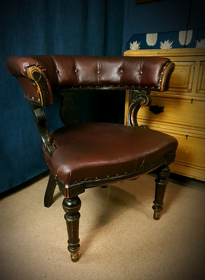 Ebonised oak faux leather chair