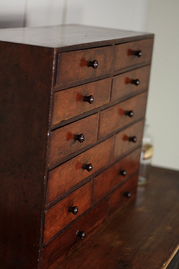 Mahogany table top drawer unit