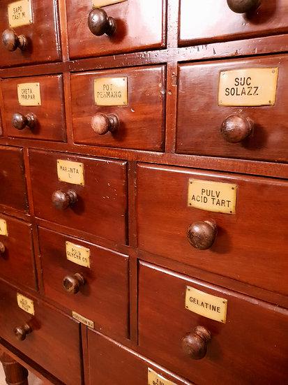 Antique mahogany Apothecary drawers
