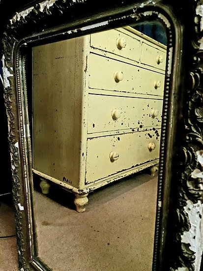 Yellow painted Victorian drawers