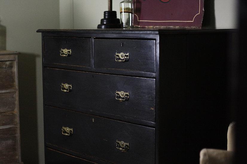 Antique ebonised oak drawers
