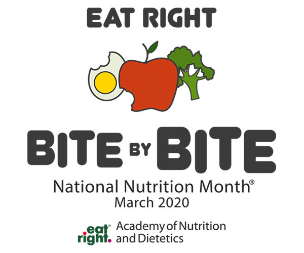 "The Academy of Nutrition and Dietetics created this icon for the celebration of National Nutrition Month 2020. This icon says ""eat right bite by bite"" which is the 2020 theme that eatright.org has created. In the middle of the icon is a bitten egg, bitten apple, and bitten piece of broccoli."