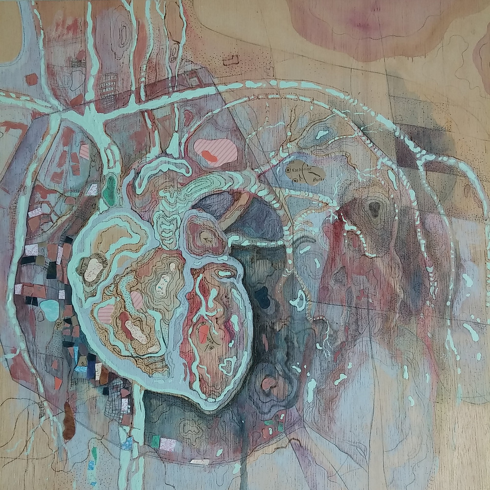 Heartland by Nikky Agnello. Acrylic and collage on plywood