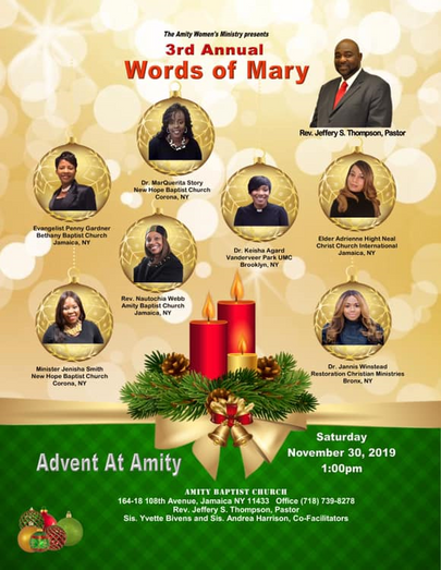 Words of Mary Flyer - Amity Baptist Chur