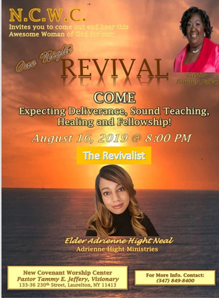 New Covenant 1 night revival - Fri 8-16-