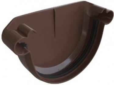 Заглушка ПВХ водосточного желоба, элит, коричневая