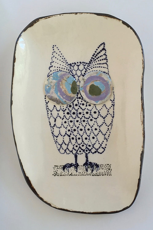 Lucy loves owls - large serving plate
