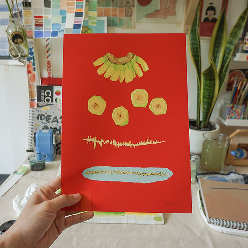 Art Print - Banana! (Red)