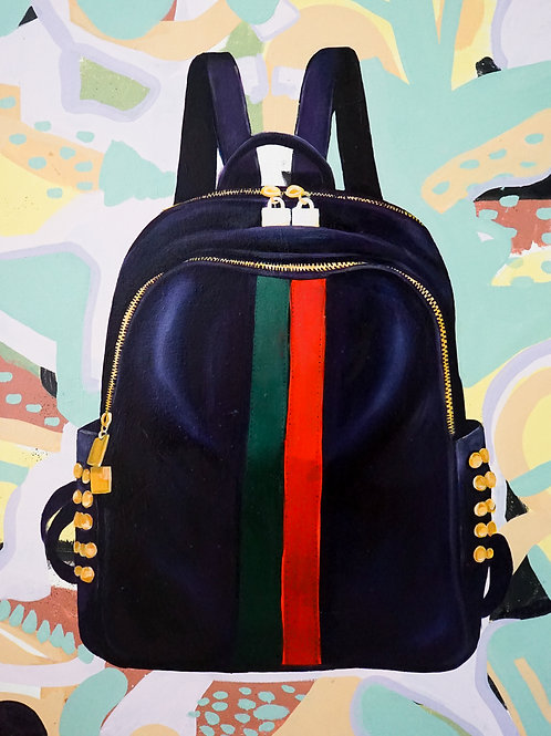 Oil Painting - Gucci Bag with Red and Green Stripes