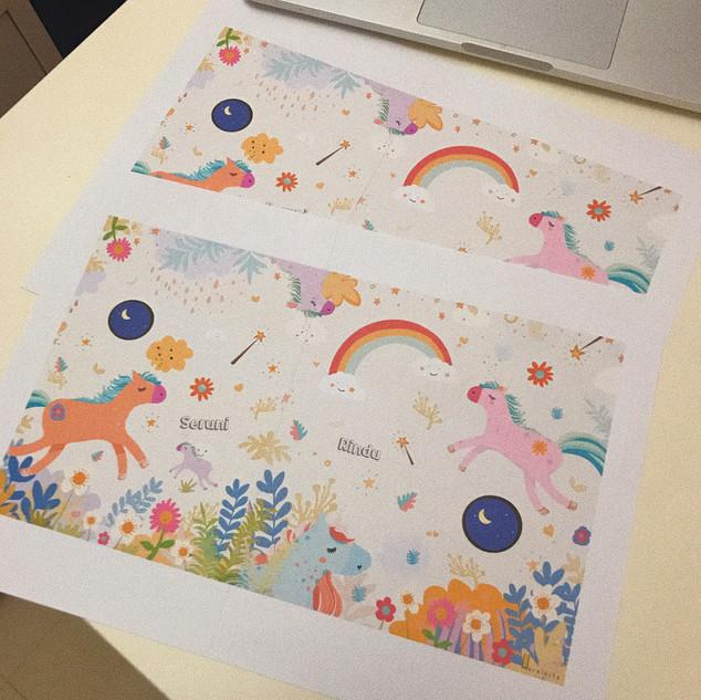 Printed design as mural guide