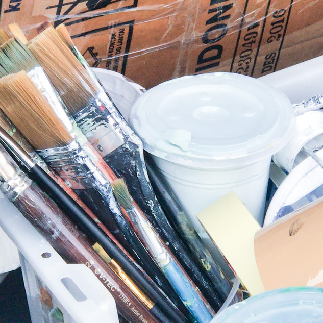Pre-Mixed Paints & Brushes we used for mural
