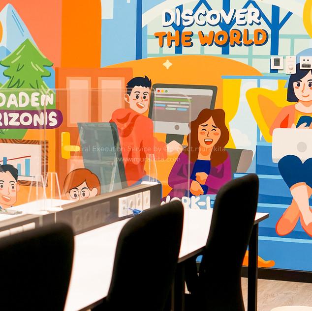 Mural Execution Service Traveloka BSD 2nd Floor . Design Created by Traveloka Team  February 2021