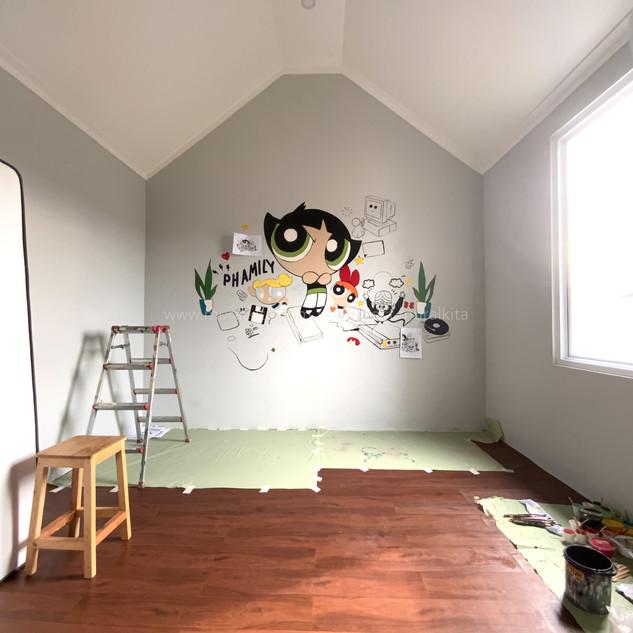 Proses Pembuatan Mural Hari Pertama