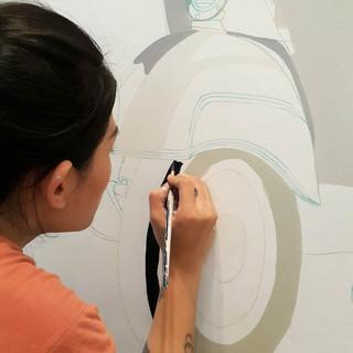 Proses mural Day 1