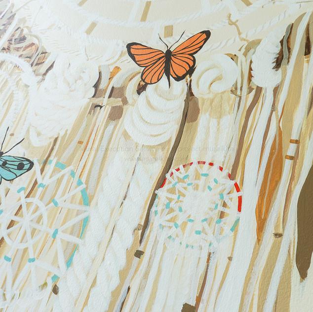Custom Dream Catcher Mural Design for Mr. & Mrs. Syailendra's Master Bedroom.  Painterly Details