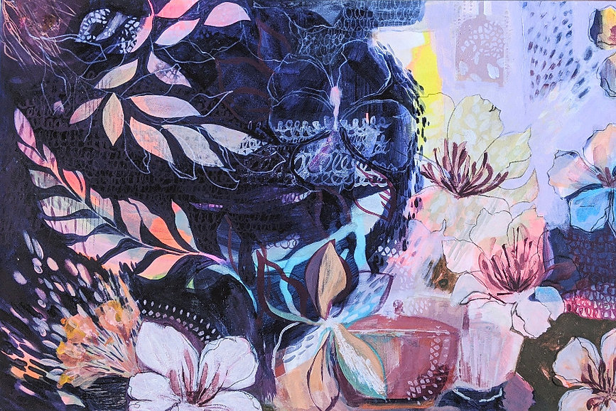 Original Contemporary Painting by Suzi Lowe Artist Hope Chest 61cm x 91.4cm - mixed media on canvas. Floral expressive layered colourful.