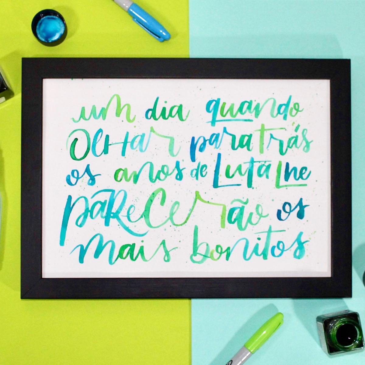 Lettering com aquarela