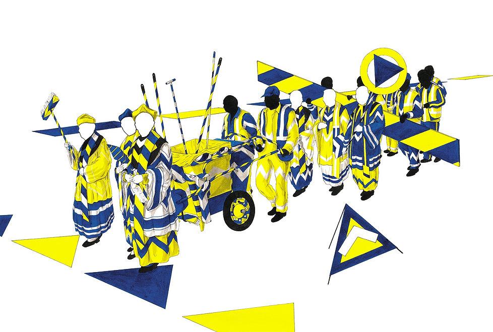 Hygienische Prozession | hygienic procession | Asepsis | Saubermann | hygiene | docmatic | drawing | Zeichnung | contemporary | zeitgenössisch |  Corona | COVID-19 | modern | art