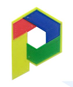 Logomuzun 3B Baskısının Renkli ve Renksiz hali.