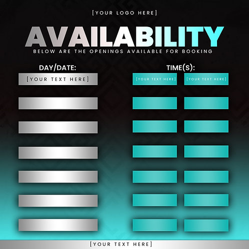 Availability Template -Turquoise