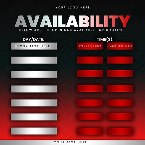 Availability Template -Red
