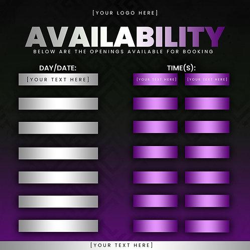 Availability Template - Purple