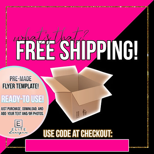Free Shipping Template - Hot Pink