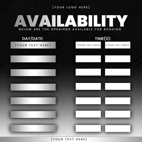 Availability Template -Silver