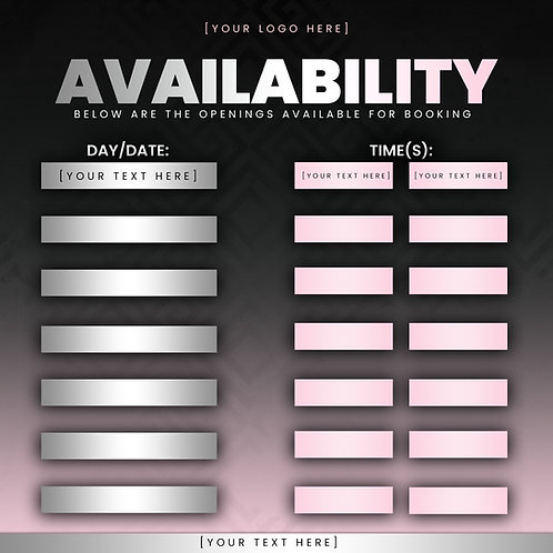 Availability Template - Pink