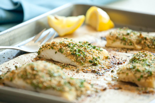 Baked Lemon and Herb White Fish Fillets (gluten-free) Size: Full Pan