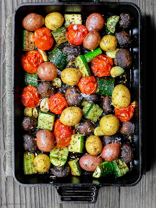 Olive Oil Roasted Vegetables and Potatoes (vegan, gluten-free) Size: ½ Pan