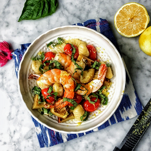 Gnocchi with Roasted Shrimp and Artichoke Hearts.  Size:Full Pan