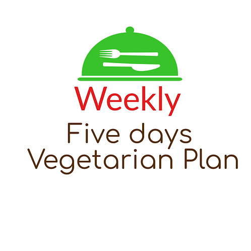 FIVE DAYS VEGETARIAN PLAN,  BREAKFAST, LUNCH AND DINNER. 15 Meals